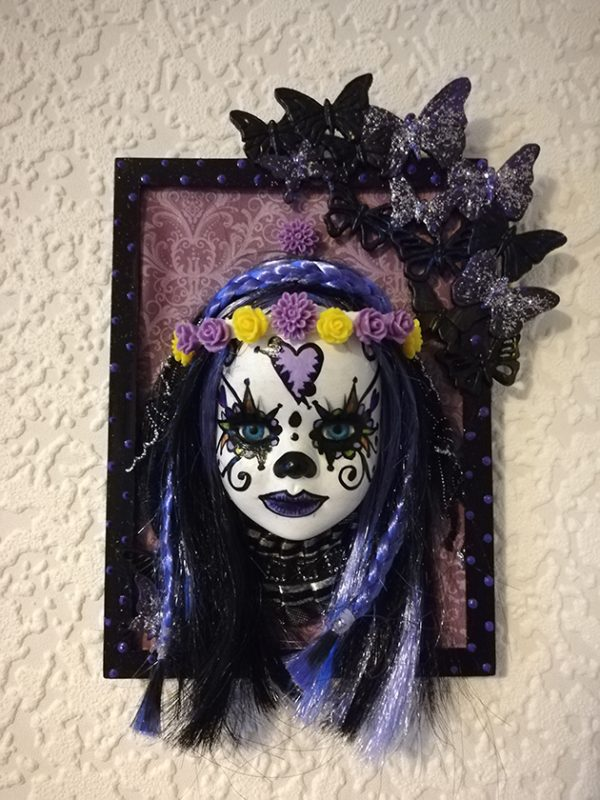 Day of the dead (Día de los Muertos) 3D doll face picture (black and purple) 2