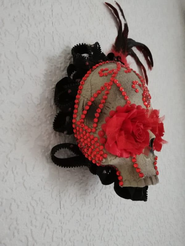 Red rose and jewel 3D skull wall plaque