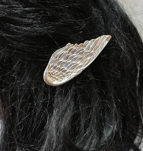 Angel wing hair clips (silver and gold)