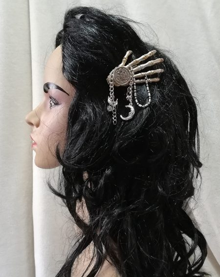 Steampunk Gothic coin and chain hair clip