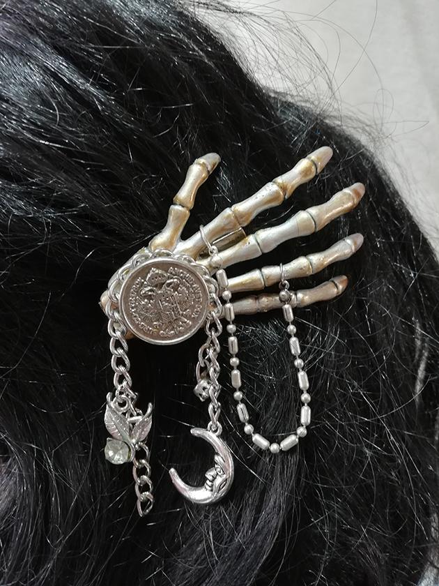 Steampunk Gothic coin and chain hair clip