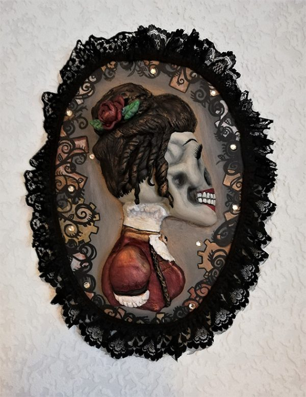 """Gothic Steampunk 'Lady"""" cameo wall plaque"""