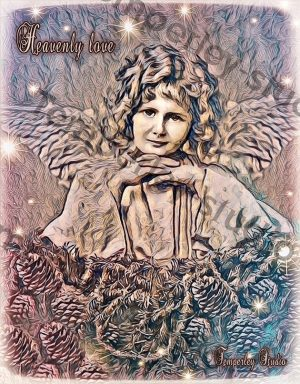 Heavenly love angel Christmas artwork limited edition print card pack