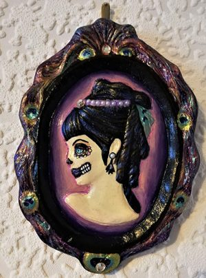 Gothic day of the dead (peacock style) lady cameo plaque