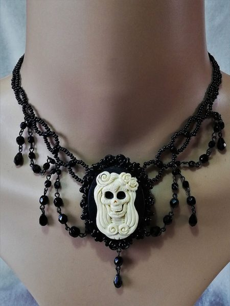 Gothic day of the dead skull lady cameo black beaded necklace