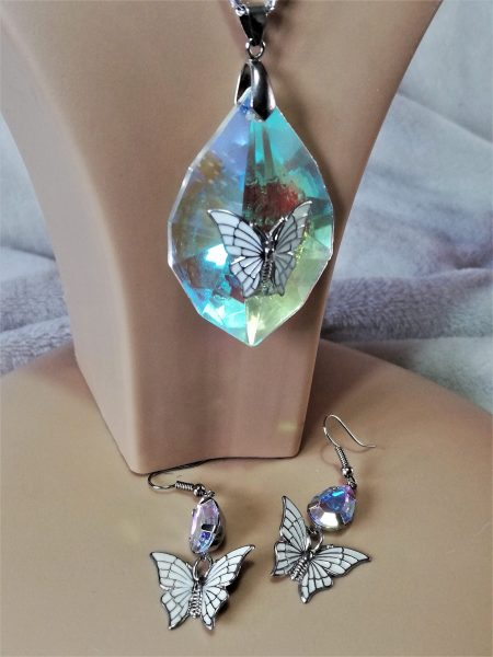 Rainbow crystal butterfly pendant and earring set