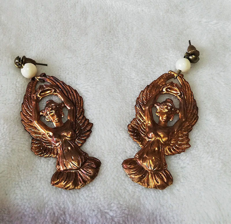 Art Nouveau copper angel beaded necklace and earring set
