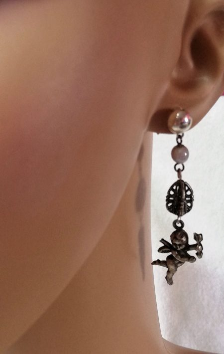 Silver 3D cherub and drop charm earrings
