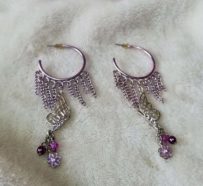 Butterfly bead and tassle chain hoop earrings