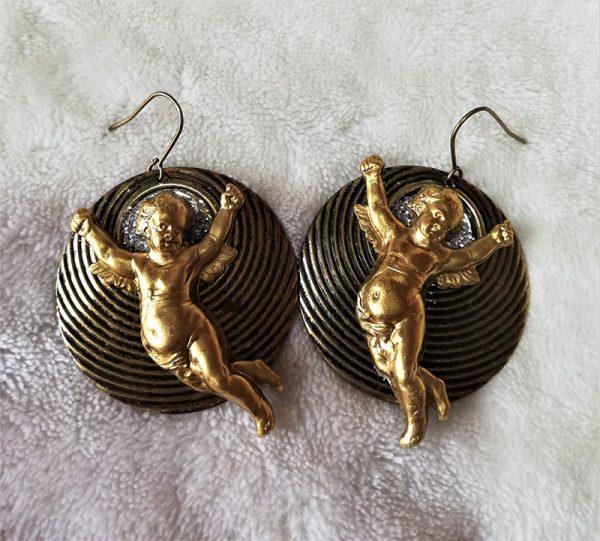 Gold Lolita 3D cherub cameo earrings