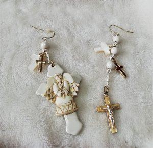 Angel and Crucifx isometic earrings
