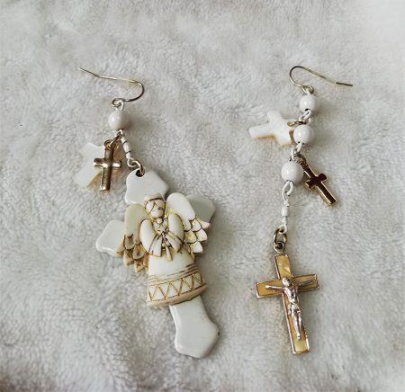 Angel and Crucifx isometic earrings