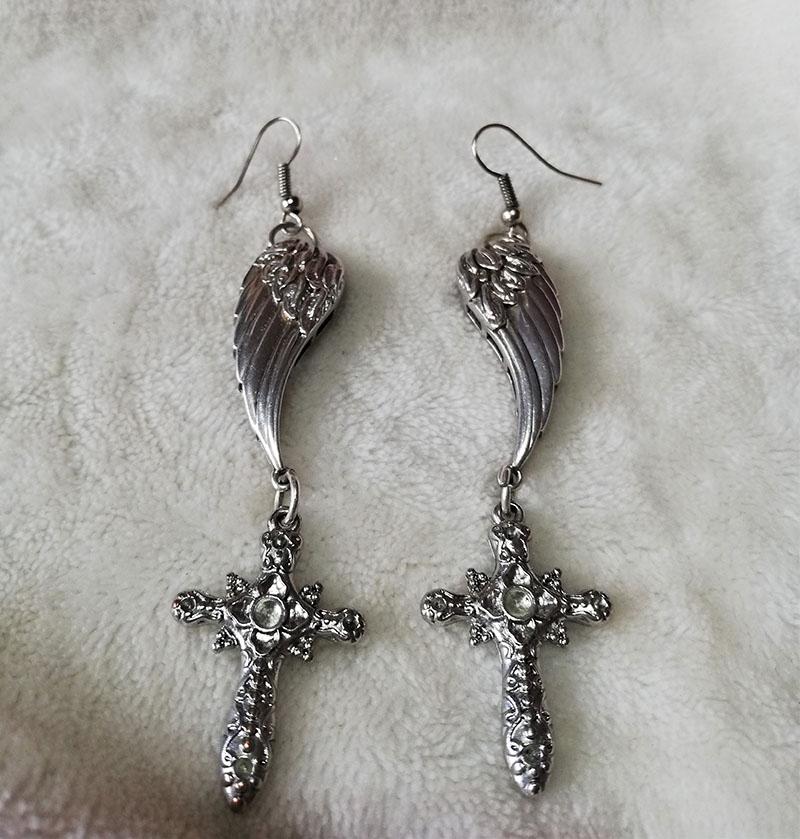 Silver angel wing and cross earrings