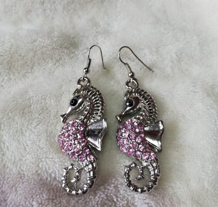 Silver and pink crystal 3D seahorse earrings