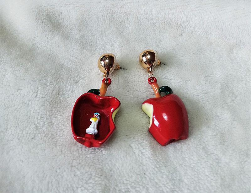 Snow White Lolita 3D apple earrings