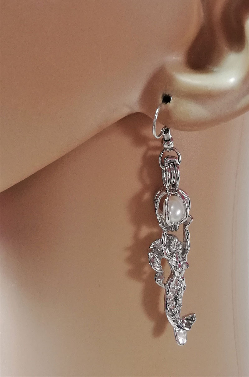 Silver 3D mermaid and glow globe earrings