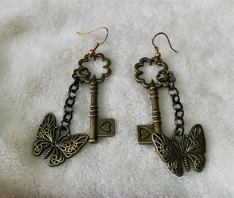Steampunk key and drop chain butterfly earrings
