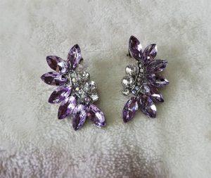 Purple crystal vine and jewel cluster earrings