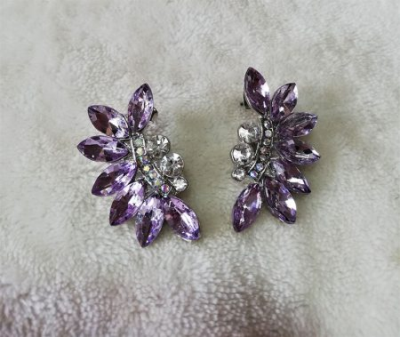 Purple crystal vine and jewel cluster earrings