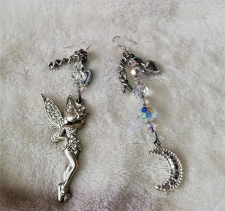 Silver 3D fairy moon and crystal earrings