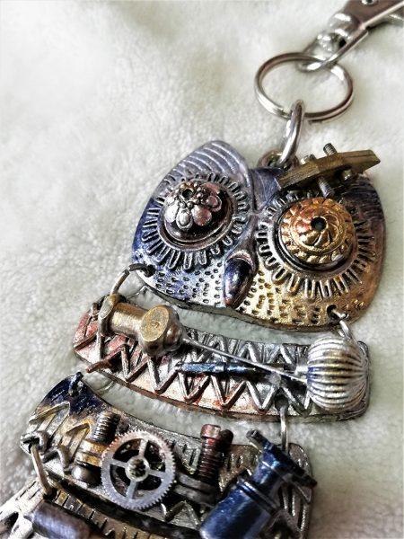 Steampunk owl key charm