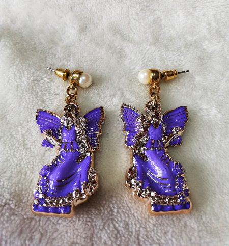 Purple and gold 3D angel and pearl stud earrings