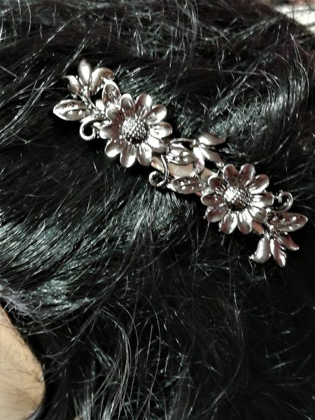 Fantasy Lolita gun metal flower hair clip