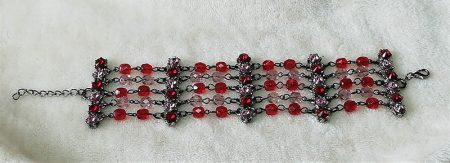 Gothic Lolita red and pink jewelled multi chain bracelet