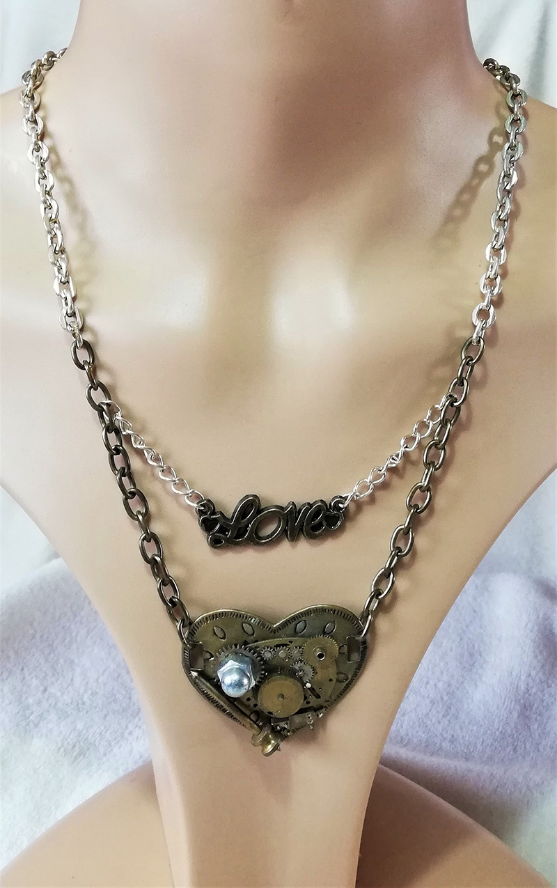 Steampunk heart and love charm necklace