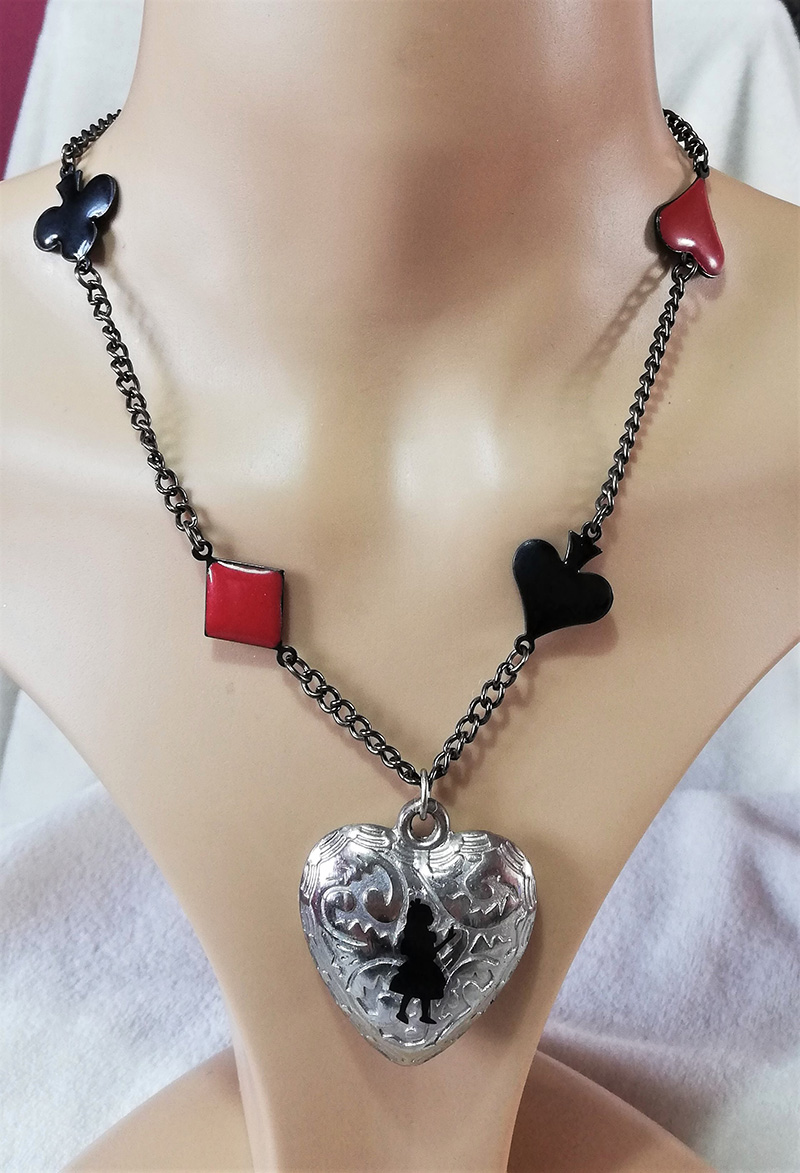 Alice in Wonderland silhouette and card charm necklace