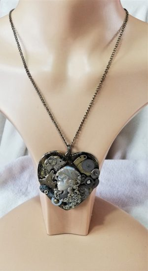 Steampunk watch part lady cameo heart pendant necklace