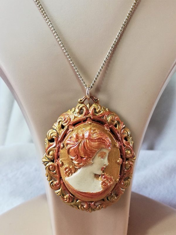 Gold and copper lady filigree cameo pendant necklace