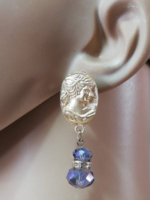 Gold cameo lady and purple crystal jewel earrings