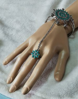Ethnic Gypsy Boho aqua floral and bell bracelet and ring