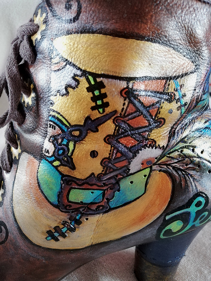 Steampunk top hat and cogs Victorian style boots