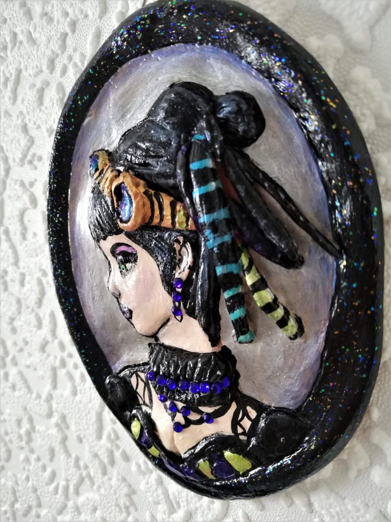 Cyber Gothic 3D Lady cameo wall plaque