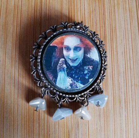 Alice in Wonderland (Burton style) mad hatter and Alice brootch and pendant
