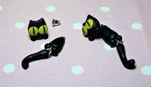 Black cat big eyes earlusion earrings