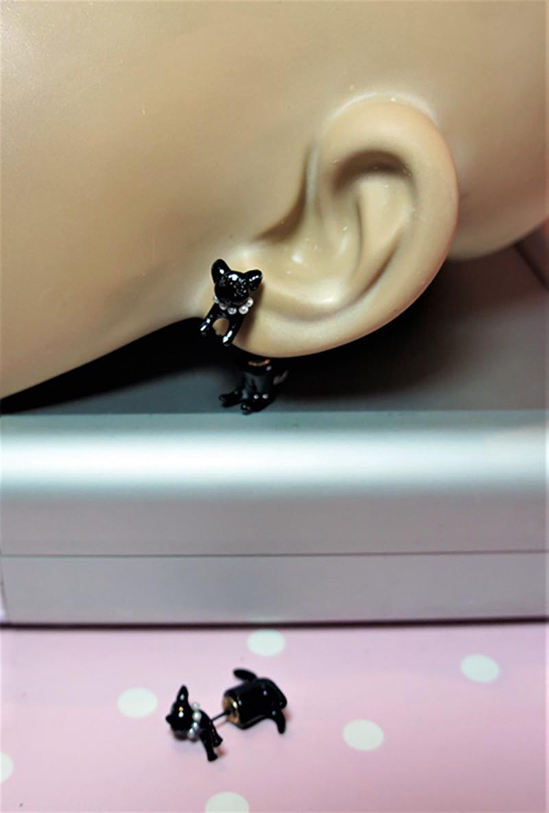 Black cat jewel collar earlusion earrings