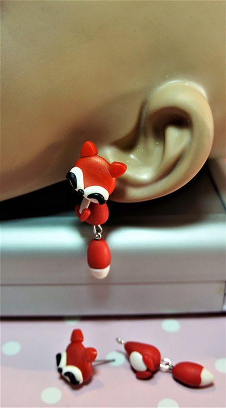 Cute Lolita HaraJuku fox earlusion earrings