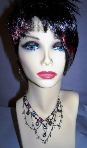 Fantasy Nouveau flower multi chain choker necklace