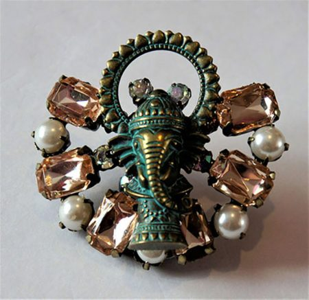Ganesh jewel and pearl brooch