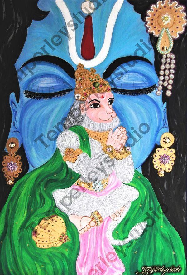 Hanuman and Rama in prayer artwork print