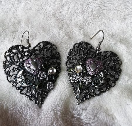 Art nouveau filigree heart and moon earrings
