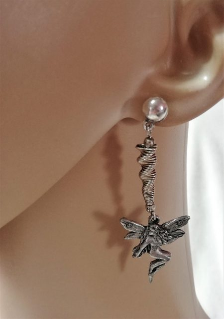 Fantasy nouveau fairy and swirl earrings