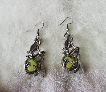 Silver 3D mermaid and glow jewel earrings