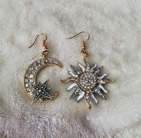 Fantasy nouveau gold and silver jewelled moon and sun earrings