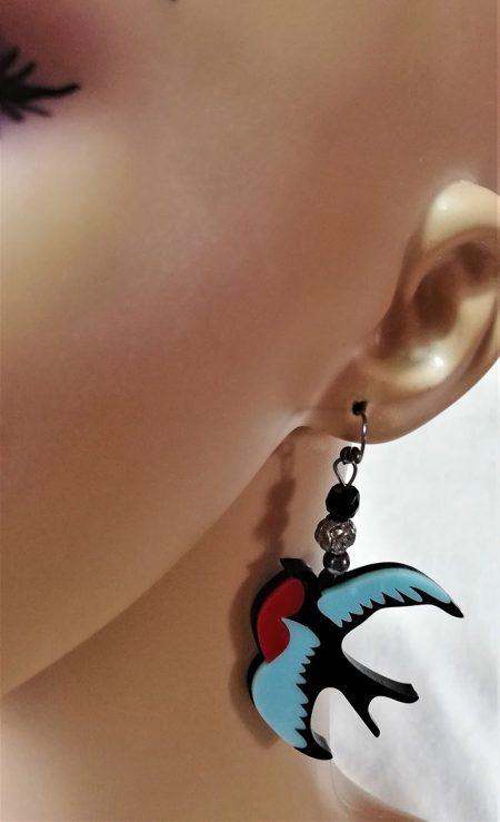 Rockabilly swallow bird and bead earrings