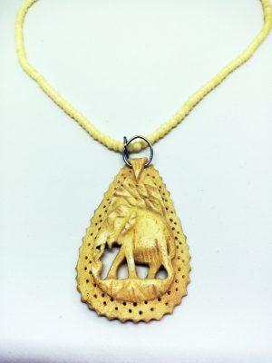 Ethnic engraved elephant cameo necklace
