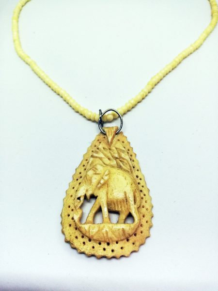 Ethnic engraved elephant cameo necklace